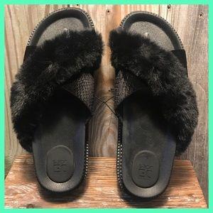 Joe's Jeans Criss Cross Faux Fur Platform Slides 8